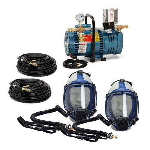 Allegro Industries 9210‐02 Two‐Worker Full Mask System, 100' Hose, One Size, Blue