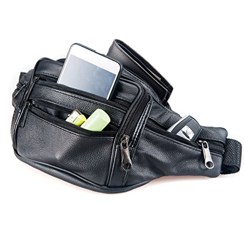 Buy black leather fannypack