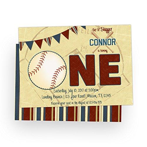1st Birthday Baseball Invitations - 1