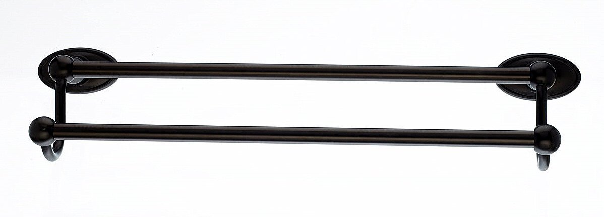 Top Knobs ED7ORBC Bath Edwardian Collection 18 Inch Double Towel Bar with Oval Backplate, Oil Rubbed Bronze Finish by Top Knobs