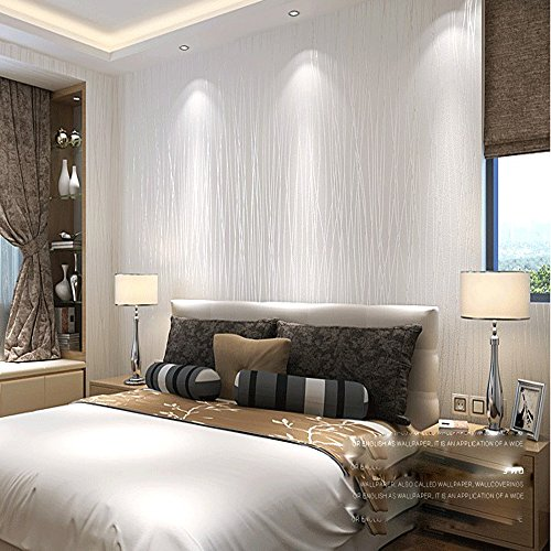 Wallpaper Stripe Modern (QIHANG Non-woven Classic Flocking Plain Stripe Modern Fashion Wallpaper Wall Paper Roll for Living Room Bedroom Off-white Color Wallpaper Roll 0.53m10m=5.3㎡)