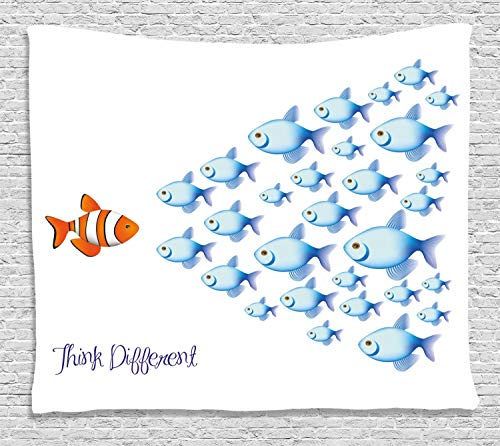 Ambesonne Quote Tapestry, Quote with Outsider Fish Against All The Others Motivational Inspirational Artwork, Wall Hanging for Bedroom Living Room Dorm, 80 W X 60 L Inches, Orange Blue