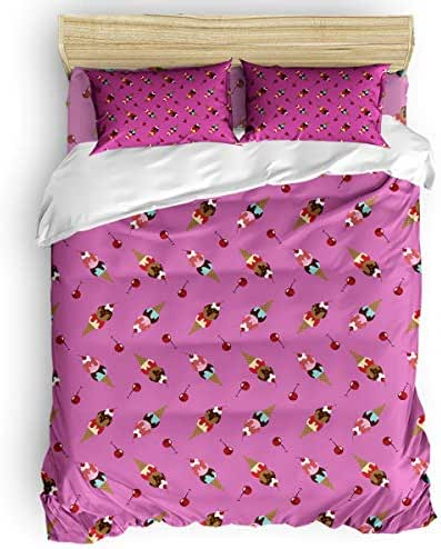 HERBED Duvet Cover Set Queen - Ultra Soft Bedding Duvet Cover Including Comforter Cover,Breathable Bed Sheets and Pillow Shams with Zipper Closure Cartoon Ice Cream Food Pattern