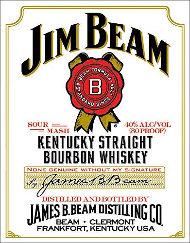 Jim Beam White Label Kentucky Straight Bourbon Whiskey Tin Sign 12x8 Jem Black Art Flush Sighn Ponter Gifts Jam Beverage Beer Love Beams Rectangular U Poster Pre Garage Food 13x16 Beqm Retro Jm ()
