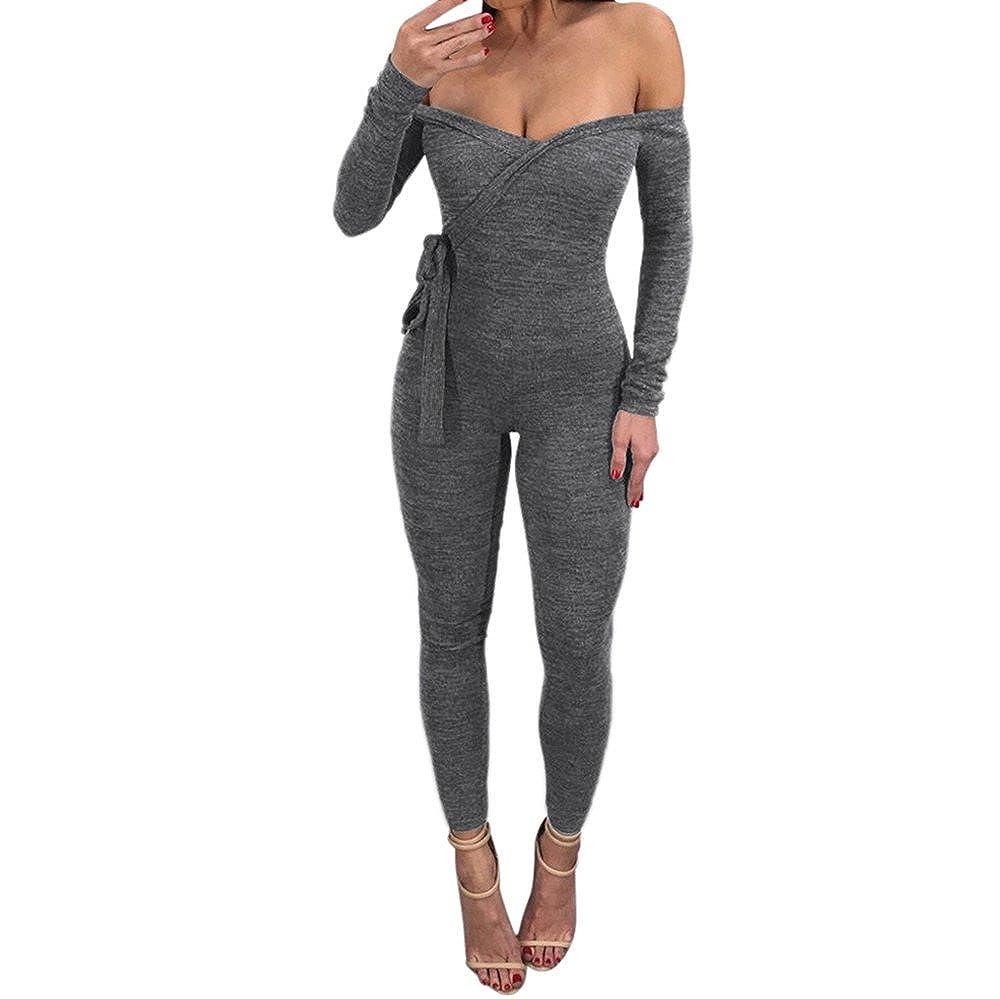 fa3327df79bd Amazon.com  Aitena Women Jumpsuit Long Sleeve Deep V Off Shoulder Sexy Skinny  Slim Bodysuit  Clothing