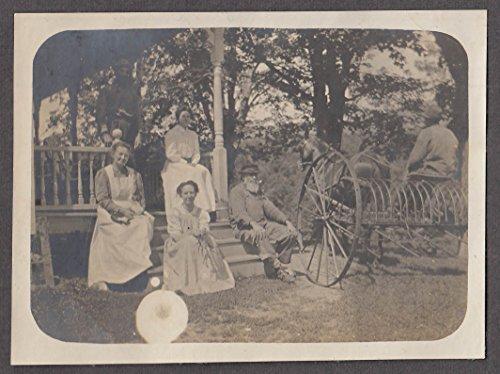 Family on porch & hay rake Maplehurst Farm Rochester VT vernacular snapshot 1915
