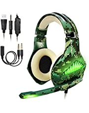ShinePick 3.5mm PS4 Gaming Headset Wired Bass Stereo Noise Isolation Gaming Headphone with Mic and LED Lights for Xbox one, Playstation 4, Laptop, PC