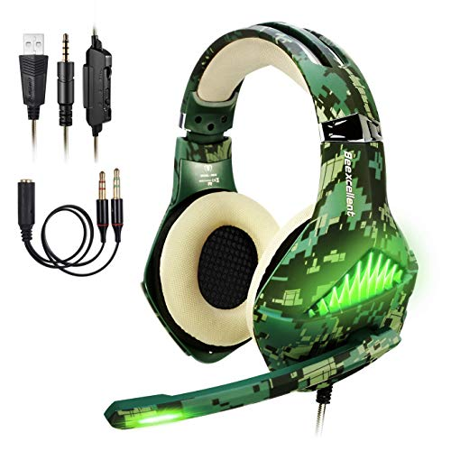 ShinePick 3.5mm PS4 Gaming Headset Wired Bass Stereo Noise Isolation Gaming Headphone with Mic and LED Lights for Xbox one, Playstation 4, Laptop, -