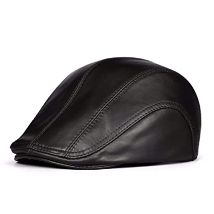 bee5fa0784e679 LIUXINDA-PM Men's Autumn and Winter Leather caps, Berets, Casual Hats, (