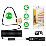 Wireless Endoscope, MEKUULA (16.4FT / 5M) 1200P Semi-Rigid WiFi Borescope Inspection Camera 2.0 Megapixels HD 600mAh Battery Snake Camera IP68 Waterproof 8 LED for Android, iPhone,Smartphone & Table