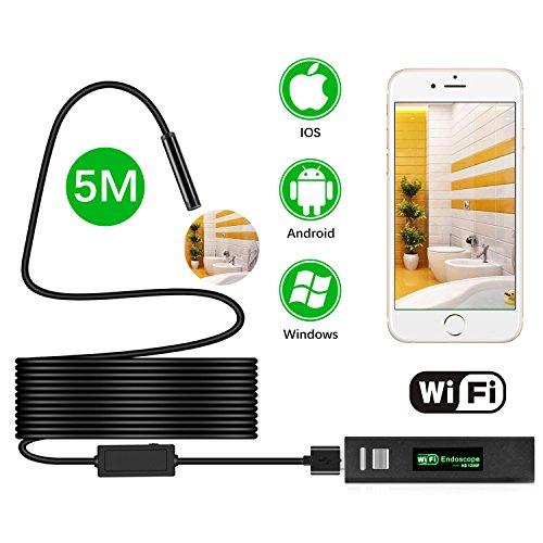 Wireless Endoscope, MEKUULA (16.4FT/5M) 1200P Semi-rigid WIFI Borescope Inspection Camera 2.0 Megapixels HD 600mAh Battery Snake Camera IP68 Waterproof 8 LED for Android, Iphone,Smartphone & Table