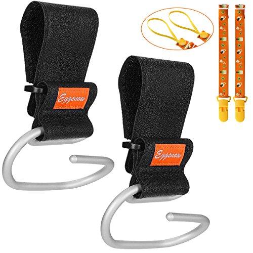 Price comparison product image Eggsnow Stroller Hooks(2 Pack) Adjustable Stroller Hanger Clip Universal Handy Hook for Strollers / Walkers Aluminum-Black