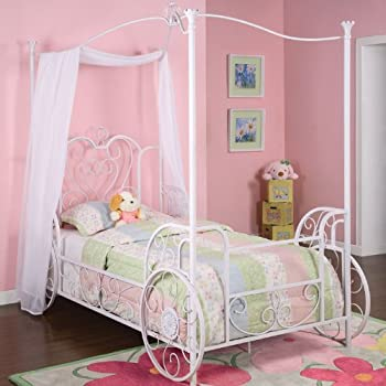"Powell Princess Emily ""Shabby Chic White"" with Pink Sand-Through Carriage Canopy Twin Size Bed"