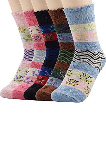 [Century Star Women's Outdoor Skiing Climbing Warm Athletic Casual Crew Socks 5 Pack Flower] (80s Fancy Dress Ideas Men)