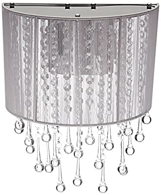 Avenue Lighting HF1511-SLV Silver Finished Sconce with Silver Silk String Shades
