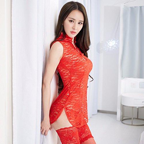 Pizzo trasparente biancheria dimensione uniforme di pigiami impostare gules sexy gules abito Nightgown intima rawSfr