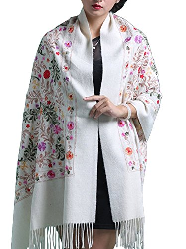 Design Wool Blend - TLIH Women's Exotic Design Wool Blend Delicate Embroidered Soft Scarf Wrap Shawl White