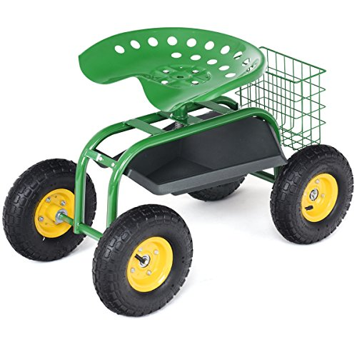 Goplus Garden Cart Rolling Work Seat Outdoor Lawn Yard Patio Wagon Scooter for Planting, Adjustable 360 Degree Swivel Seat w/Tool Tray, Basket (Green) by Goplus