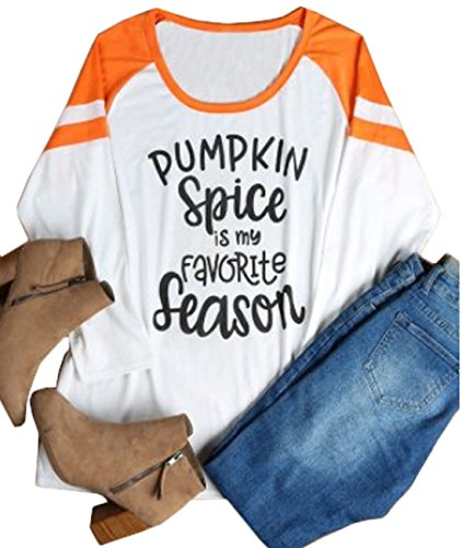 (Plus Size Women Pumpkin Spice is My Favorite Season Baseball T-Shirt 3/4 Sleeve Splicing Tops Size 3XL (White))