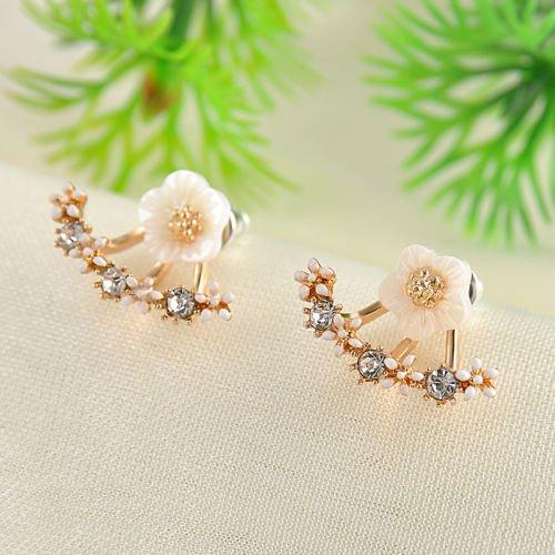 Smilestyle Trendy Women Jewelry Gold+White Flower Crystal Front & Back Ear Jacket Stud Daisy Earrings