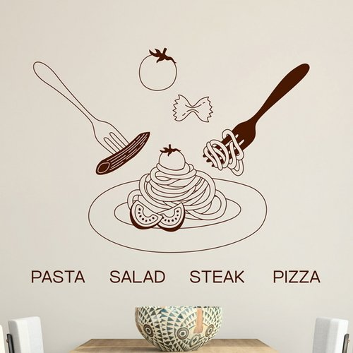 Wall Sticker SoungNerly Personality Fashion Bedroom Wall Decoration Pizza Pizza Salad Tea Shop Sticker Window Sticker Glass Door, Brown -