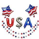 2 Red White Blue Star Streamers + USA Letter Ballon