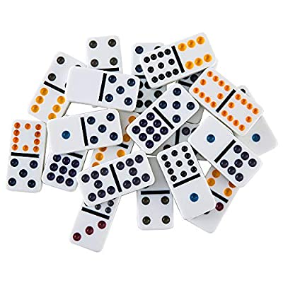 Homwom Double 12 Dominoes Set - Mexican Train Dominoes Double 12 Color Dot Dominoes with Aluminum Case: Toys & Games
