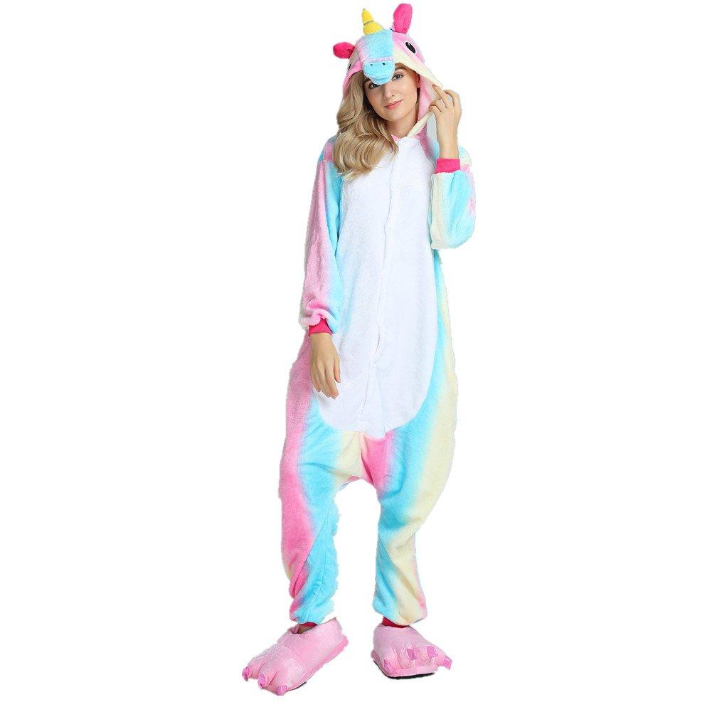 Licy Life-UK Pigiama Unicorno Kigurumi Adulto/Bambino Aggiorna Flanella 3D Cappuccio Pigiama Intera Onesies Sleepwear Anime Costume per Compleanno Carnevale Cosplay Easter Festa Halloween Party