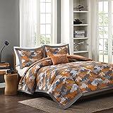 Gray & Orange Camouflage Camo Twin Comforter, Sham & Toss Pillow (3 Piece Bed In A Bag) + HOMEMADE WAX MELT