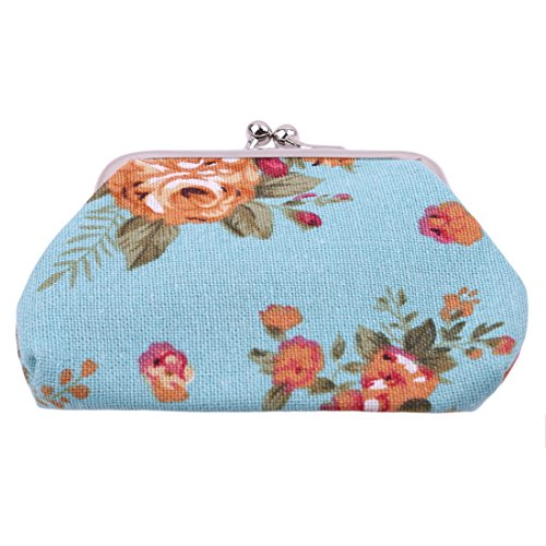 VWH Women Retro Small Wallet Flower Clutch Bag Good Flowers Gift Bags (blue) by VWH (Image #1)