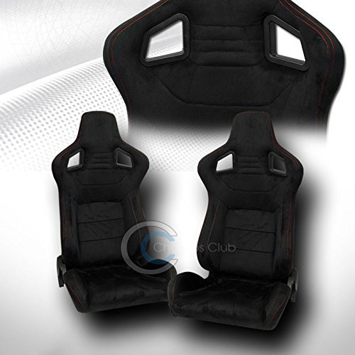 Scion Xb Racing Seats - UNIVERSAL MU BLK SUEDE RED STITCH RECLINABLE RACING BUCKET SEATS+SLIDER PAIR C01