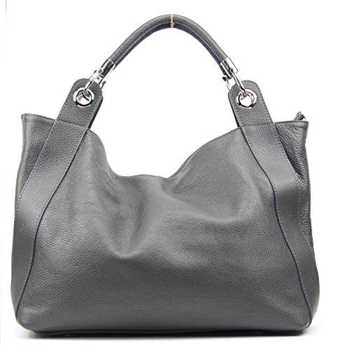 Sac à main en cuir pour femmes Oh My Bag, bandoulière, modèle Paris, nouvelle collection - Spécial Noël gris foncé
