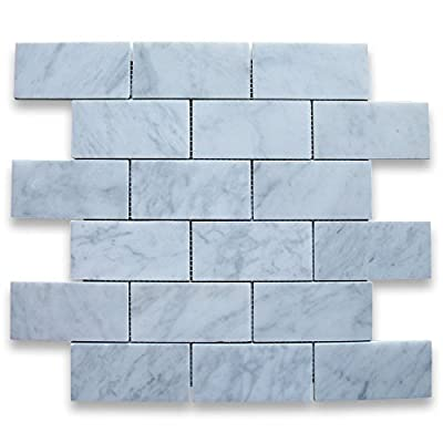 Carrara White Italian Carrera Marble Subway Brick Mosaic Tile 2 x 4 Honed