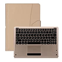 FYY Leather Wireless Bluetooth Keyboard Case with Note Holder for Apple iPad Pro – Gold