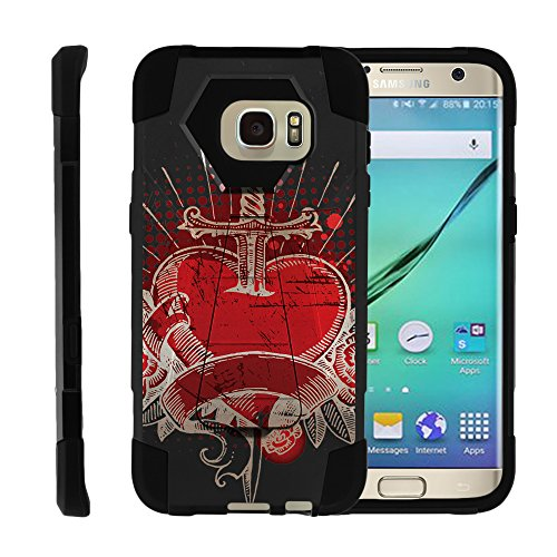Samsung Galaxy S7 Edge, Dual Layer Shell SHOCK Impact Kickstand Case with Unique Graphic Images by Miniturtle - Pierced Heart