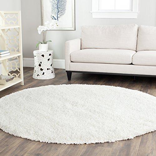 Safavieh California Premium Shag Collection SG151-1010 White Round Area Rug (4' Diameter)