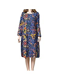 AMSKY ❤Plus Size Dress, Women's Elegant Floral Print Long Sleeve Cotton and Linen Loose Long Maxi Dress