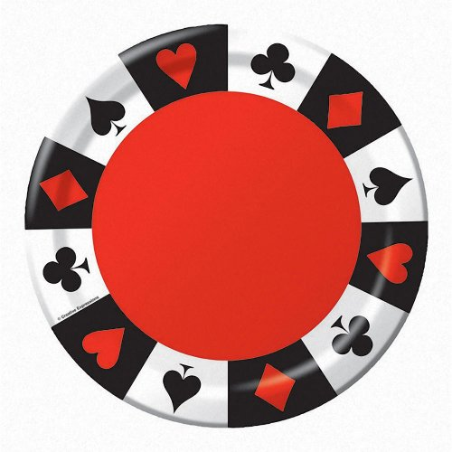 Creative Converting 8 Count Round Lunch Plates, Card Night -