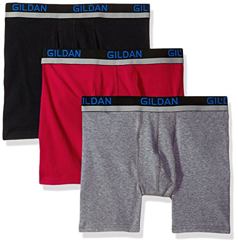 Gildan Men's Cotton Spandex Athletic Boxer Briefs, 3-Pack, Black/Cardinal Red/Graphite Heather, Medium - Cotton Lycra Briefs