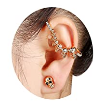 S&Moon Punk Ear Cuff Wrap Crystal Skull Cartilage Earrings 1pcs