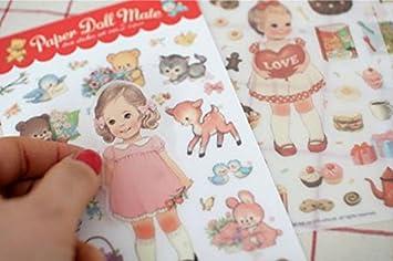 YPSelected 6 Hojas DIY Cartoon Rabbit Girl Diario Notebook Ablums Decoración Papel Stickers Sets Etiqueta Paquete de Regalo Scrapbooking (PVC)