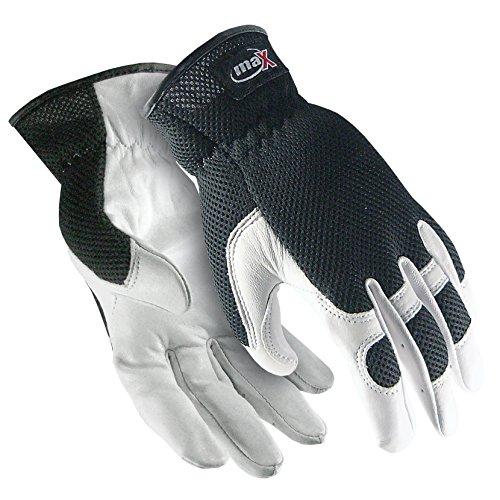 (Galeton 9120051-XXL 9120051 maX Extra Goatskin Palm Mesh Back Utility Work Gloves with Slip-on Cuff, 2X-Large, White/Black)