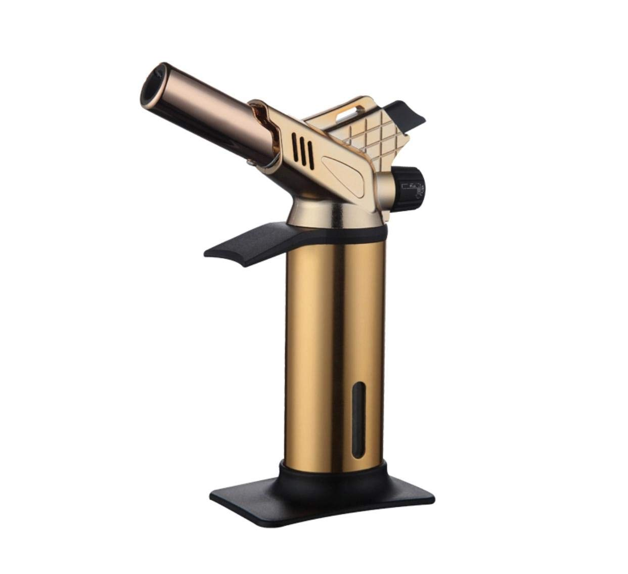 Blow Torch - Culinary - Gold - Adjustable Kitchen Blow Torch Lighter with Safety Lock - Professional Chef Blow Flame - Butane Refillable - Creme Brûlée - BBQ - Chef's Craftsmanship