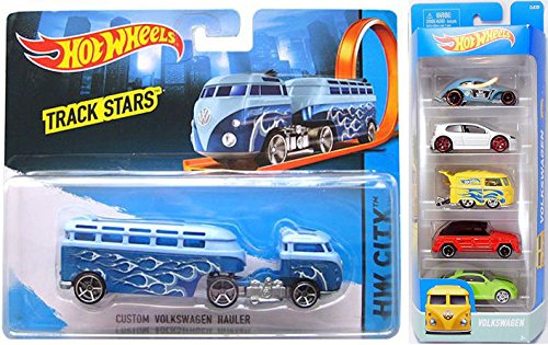 Hot Wheels Custom Hauler Truck VW Track Star Series 2017 & Volkswagen 5 car set - Gulf GT - Kool Kombi - Custom Beetle & Type 181 pack