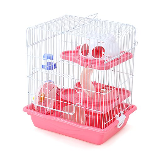 GNB PET Hamster Cage DIY Pet Mice Habitat, Multi-Level Habitat for Exotics with Complete Accessories, Pink