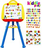Kiddie Play Standing Art Easel Toy for Kids with Magnetic Letters Numbers and Symbols (115 pcs Set)