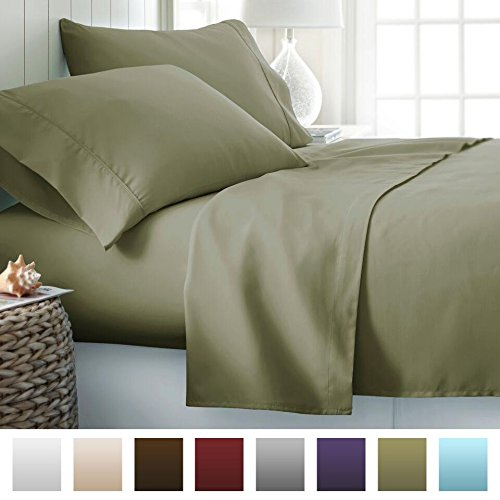 Beckham Hotel Collection 1500 Series Luxury Soft Brushed Microfiber Bed Sheet Set Deep Pocket - Cal King - Olive