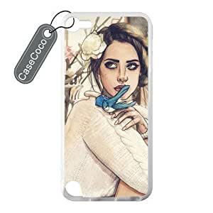 CASECOCO(TM) Favorite Singer Lana Del Rey iPod Touch 5 Case - 100% Protective Soft Rubber White Case for iPod Touch 5