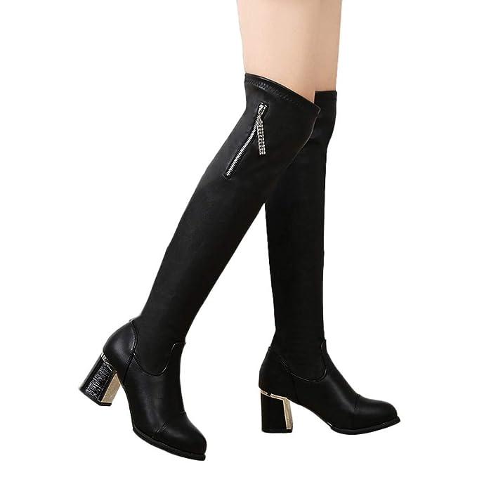 ac9c77e002808 Amazon.com: Outtop(TM) Women Leather High-Tube Boots Ladies Zipper ...