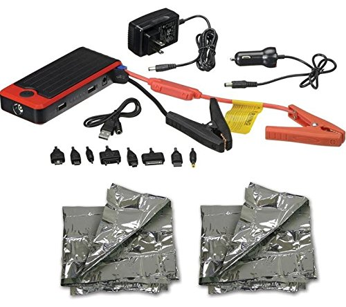 POWERALL Deluxe 12000mAh Car Jump Starter Bundle with 2 Emergency Foil Blankets